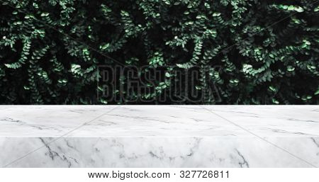 Marble Table And Green Leaf Wall Product Display Background.3d Perspective Stand.banner Mockup Space