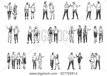 People Communicating And Walking Outside Concept Sketch. Warm Season, Sunny Weather, Men And Women S