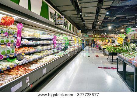 SHENZHEN, CHINA - CIRCA APRIL, 2019: interior shot of JUSCO store in Shenzhen.