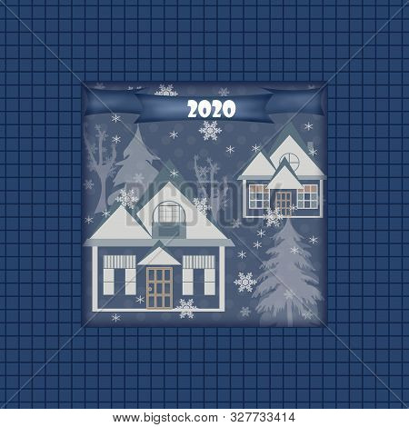 New Year 2020 Winter Landscape Houses Trees Snowflakes Illustration