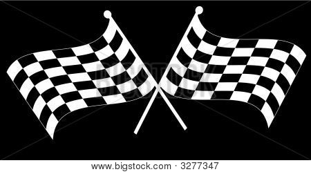 Checkered Flag Two Crossed On Black