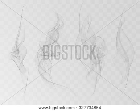 Vector Collection Or Set Of Realistic Cigarette Smoke Or Fog Or Haze With Transparency Isolated Can
