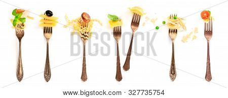 Italian Food Collage. Pasta Design Elements. Many Forks With Pasta And Various Addings, Shot From Th