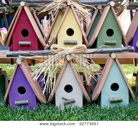Charming Colorful Wooden Birdhouses