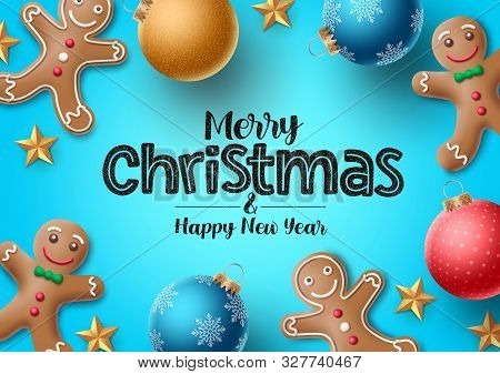 Christmas Gingerbread Vector Background. Merry Christmas Greeting Text With Colorful Xmas Elements O