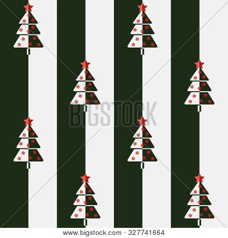 Christmas Tree. Seamless Vector Illustration With Abstract Christmas Trees In Two Colors