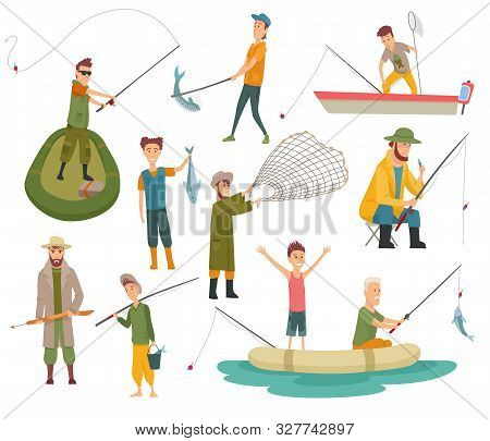 Fisherman Flat Icons. Fishing People With Fish And Equipment Vector Set. Fishing Equipment, Leisure