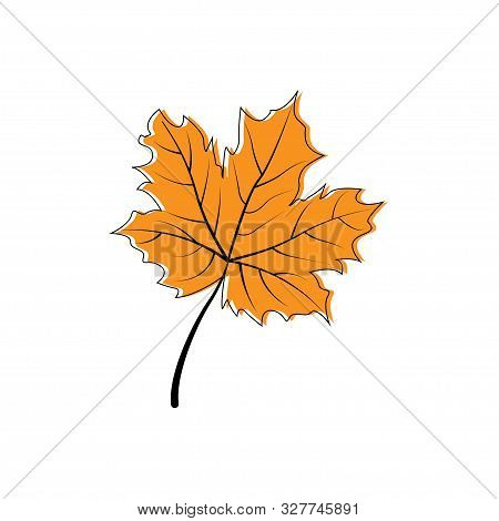 Autumn Leaf Icon. Autumn Maple Leaf In Modern Simpl Flat Design. Autumn Maple Leaf, Isolated On Whit