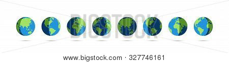 Set Of Earth Globe Icons In Day And Night. Earth Globe Vector Icons With Shadow, Isolated On White B