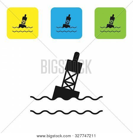 Black Floating Buoy On The Sea Icon Isolated On White Background. Set Icons Colorful Square Buttons.
