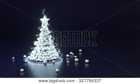3d Illustration Of Silver Christmas Tree With Star On Dark Blue Background. Greeting Card With Copy