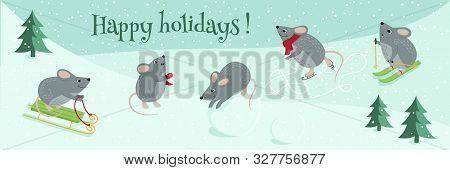 Vector Cute Mice Are The Symbol Of 2020. Funny Mice Play Winter Games: Skiing, Playing Snowballs, Sl