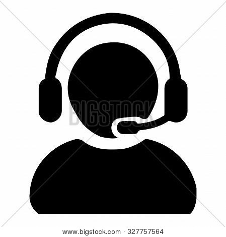 Customer Support Operator With Headset Icon Vector Illustration Graphics Design.