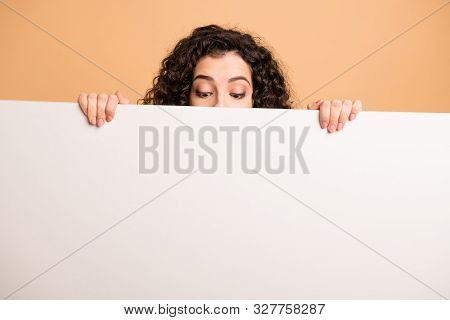 Photo Of Funny Lady Not Showing Full Face Holding Fingers Big White Placard Presenting Novelty Infor