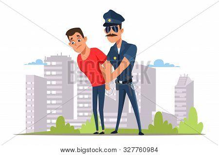 Lawbreaker Arrest Flat Vector Illustration. Policeman In Sunglasses And Criminal In Handcuffs Cartoo