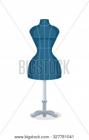 Sewing Mannequin Flat Vector Illustration. Female Torso Dummy. Tailoring And Dressmaking Manikin Iso