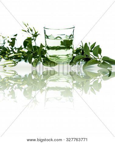 Juhi Or Jasminum Auriculatum Or Indian Jasmine Flowers Isolated On White With Its