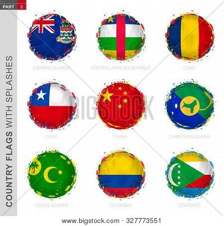 Flag Collection, Round Grunge Flag With Splashes. 9 Vector Flags: Cayman Islands, Central African Re