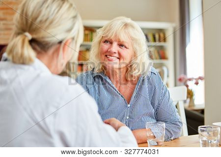 Nursing service for women and senior citizens during a home visit or assisted living