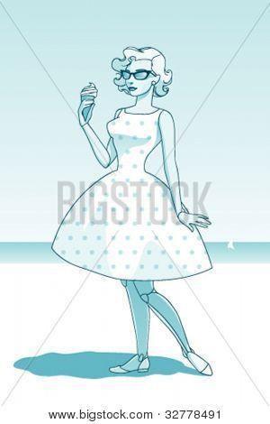 Woman on the beach, retro style illustration