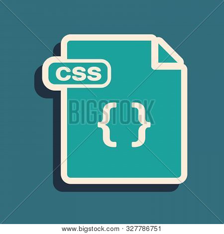 Green Css File Document. Download Css Button Icon Isolated On Blue Background. Css File Symbol. Long