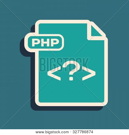 Green Php File Document. Download Php Button Icon Isolated On Blue Background. Php File Symbol. Long