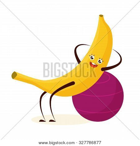 Sport Banana Doing Crunches In The Gym. Fruit With The Face