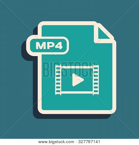 Green Mp4 File Document. Download Mp4 Button Icon Isolated On Blue Background. Mp4 File Symbol. Long