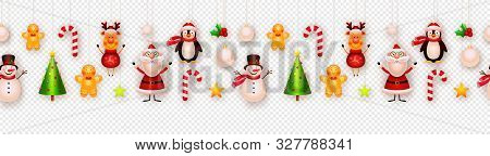 Christmas Decor, Hanging Ornaments Vector Background. Garland. Christmas Tree, Snowman, Santa, Star,