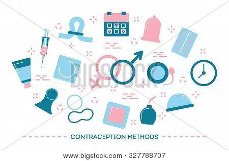 Contraception Methods Concept. Calendar And Pills, Condom