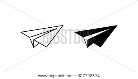 Two Plane Vector Icons. Plane Icons. Airplane Vector Icon. Sketch Of Paper Airplane In Linear And Mo