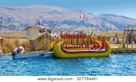 Lake Titicaca, Peru, August 16 A Typical Boat Made Of Straw Moored To A Floating Island Of Lake Titi