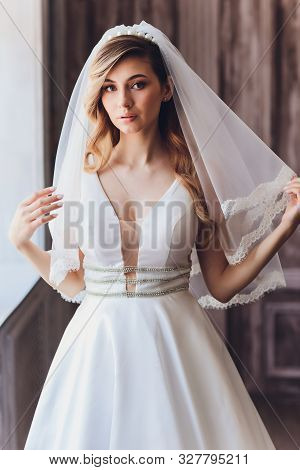 Beautiful Bride Woman In Wedding Dress And Veil. Fashion Portrait Of Young Gorgeous Bride. Wedding D