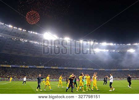 Kyiv, Ukraine - October 14, 2019: Ukrainian Players Celebrate The Qualify For The Finals After Won 2