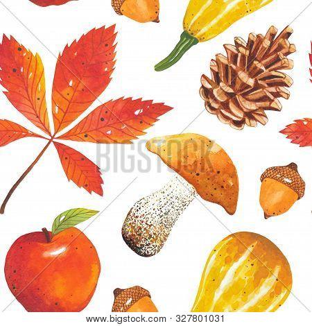 Seamless Autumn Bright, Colorful Pattern Of Leaves, Mushrooms, Acorns, Cones, Pumpkins, Apple. Hand-