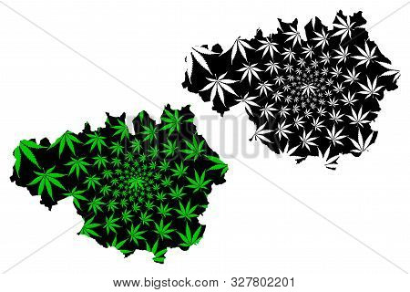 Greater Manchester (united Kingdom, England, Metropolitan County) Map Is Designed Cannabis Leaf Gree