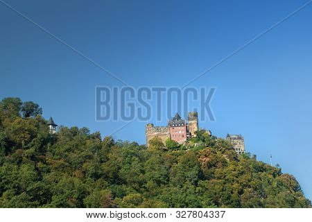 Schonburg Castle In The Rhine Valley On A Sunny Autumn Morning