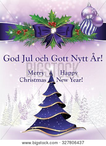 Merry Christmas And Happy New Year - Swedish Greeting Card For The New Year 2020 Celebration.
