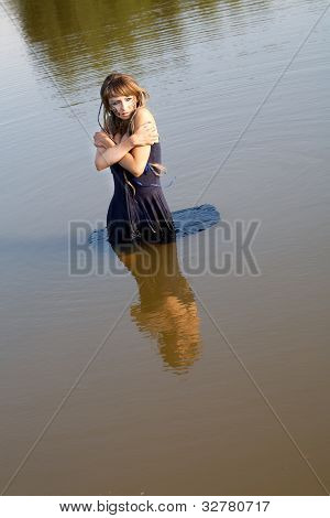 Girl  A Dress Stand In Lake  The Summer