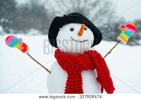 Funny Snowman In Stylish Hat And Scarf On Snowy Field. The Morning Before Christmas. Funny Snowmen.