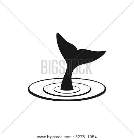 Whale Tail Graphic Icon. Whale Tail Black Sign Isolated On White Background. Sea Life Symbol. Logo.