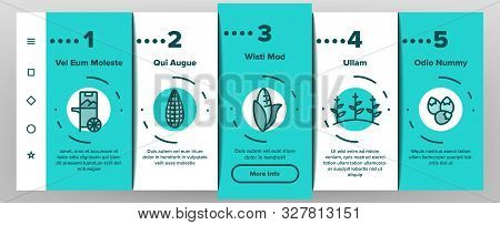 Corn Food Onboarding Mobile App Page Screen Vector Thin Line. Pop Corn And Corncob, Maize Grain And