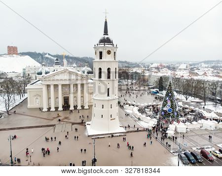 Aerial View Of Decorated Christmas Tree On The Cathedral Square Of Vilnius, Lithuania