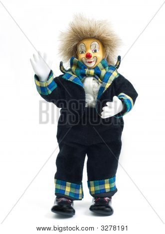 An Isolated Clown Doll On A White Background