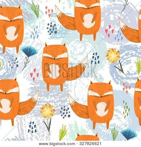Cute Seamless Pattern With Bright Cartoon Orange Foxes, Colorful Dots And Flowers On Grunge Shapes B