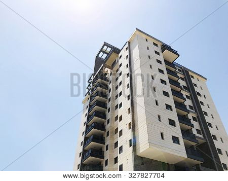 Rishon Le Zion, Israel  October 07, 2019: Residential Building View From The Bottom  In Rishon Le Zi
