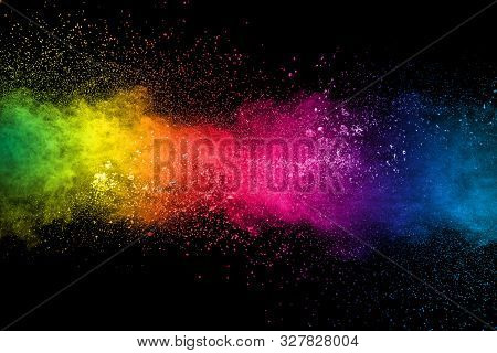 Colorful Background Of Pastel Powder Explosion.multi Colored Dust Splash On Black Background.painted