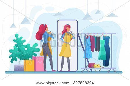 Girl Trying On Dress Flat Vector Illustration. Fashion Boutique, Garments Store Customer Cartoon Cha