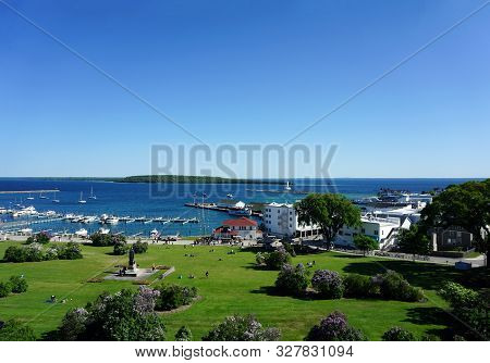 Mackinac Island, Michigan / United States - June 11, 2018:: A View Of Marquette Park, The Mackinac I
