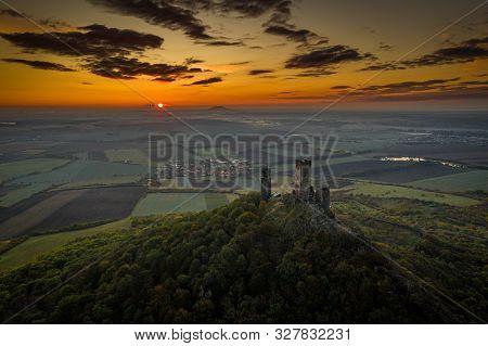 Hazmburk Is A Mountain Peak In The Ceske Stredohori Range Found In The Czech Republic. At The Top Of